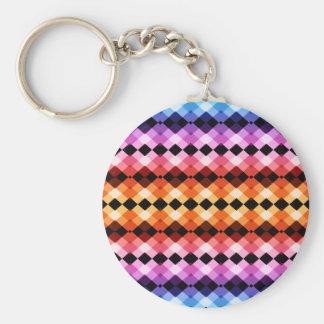 Crazy Rainbow Argyle Basic Round Button Keychain