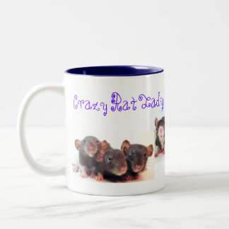 Crazy Rat Lady and Proud of it! Two-Tone Coffee Mug
