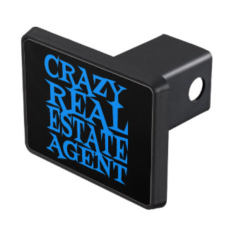 Crazy Real Estate Agent in Blue Trailer Hitch Cover