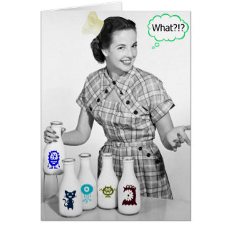Crazy Retro Mom Cooking Weirdness Customizable Card