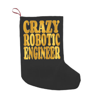 Crazy Robotic Engineer in Gold Small Christmas Stocking