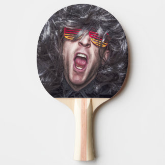 Crazy Rock Star Funny Face Ping Pong Paddle