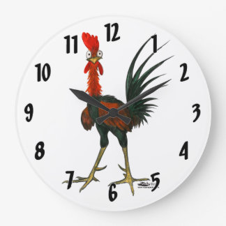 Crazy Rooster Large Clock