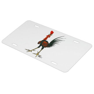 Crazy Rooster License Plate