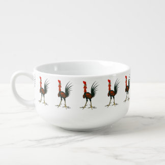 Crazy Rooster Soup Bowl With Handle