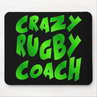 Crazy Rugby Coach in Green Mouse Pad