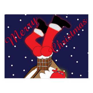 Crazy Santa Stuck in Chimney Post Card