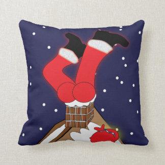 Crazy Santa Stuck in Chimney Throw Pillow