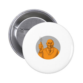 Crazy Scientist Holding Test Tube Circle Drawing 2 Inch Round Button