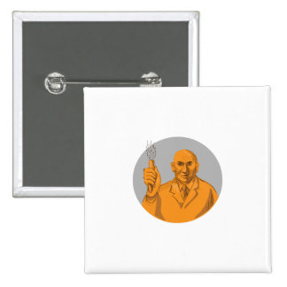 Crazy Scientist Holding Test Tube Circle Drawing 2 Inch Square Button