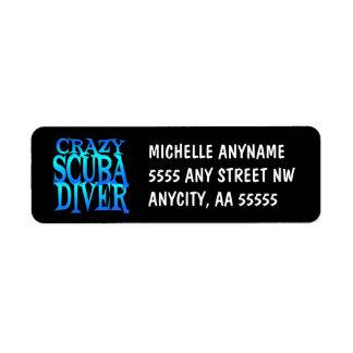 Crazy Scuba Diver Return Address Label
