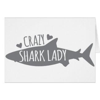 Crazy Shark Lady Card
