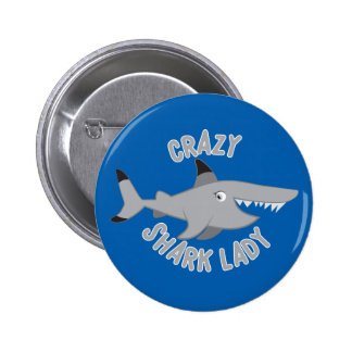 crazy shark lady circle 2 inch round button