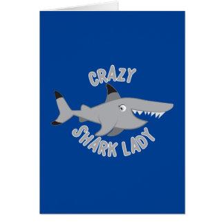 crazy shark lady circle card