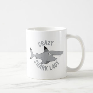 crazy shark lady circle coffee mug