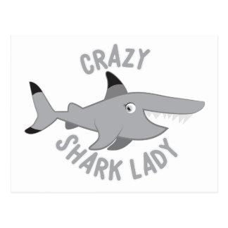 crazy shark lady circle postcard