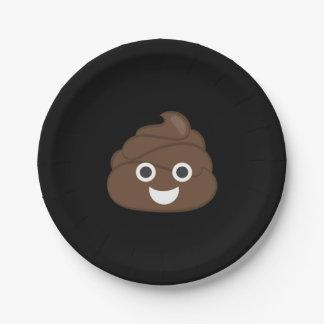 Crazy Silly Brown Poop Emoji 7 Inch Paper Plate