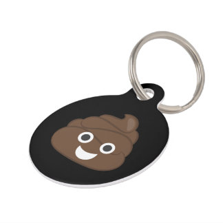 Crazy Silly Brown Poop Emoji Pet Tag