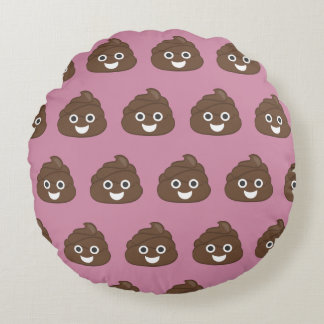Crazy Silly Brown Poop Emoji Round Pillow
