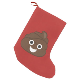 Crazy Silly Brown Poop Emoji Small Christmas Stocking