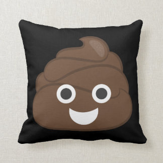 Crazy Silly Brown Poop Emoji Throw Pillow