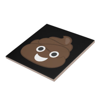 Crazy Silly Brown Poop Emoji Tile