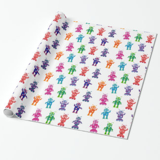 Crazy Silly Colorful Girl and Boy Robot Party Wrapping Paper