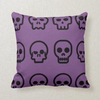 Crazy Skulls Purple Pattern Throw Pillow