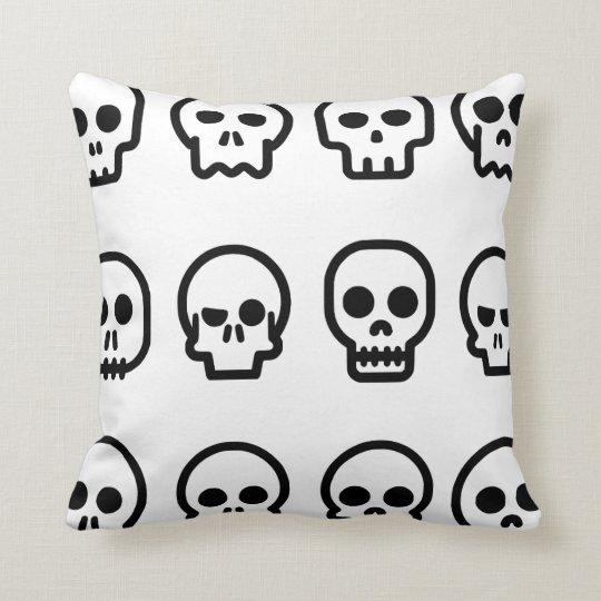 Crazy Skulls White Pattern Throw Pillow
