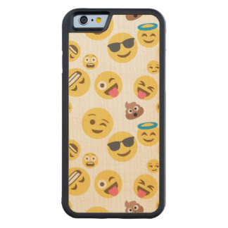 Crazy Smiley Emojis Carved Maple iPhone 6 Bumper Case