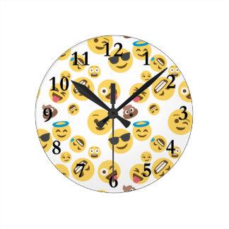 Crazy Smiley Emojis Round Clock