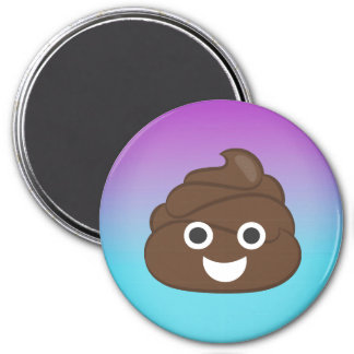 Crazy Smiley Poop Emoji Ombre Magnet