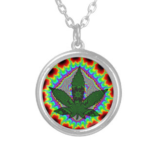 Crazy Smoke Weed Fun Rasta Silver Plated Necklace