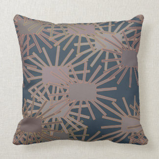 Crazy Square Flowers in Blue and Grey Pillow