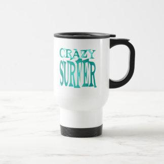 Crazy Surfer in Teal Travel Mug