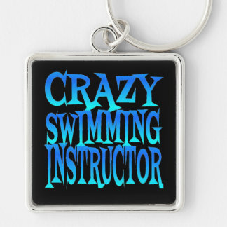 Crazy Swimming Instructor Silver-Colored Square Keychain