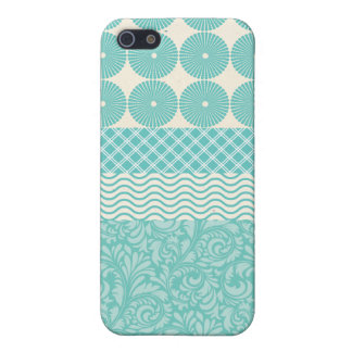 Crazy Teal Blue Patterns Circles Floral Plaid Wave Case For The iPhone 5