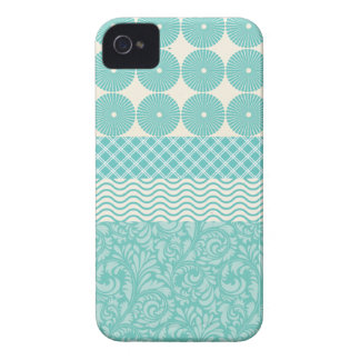 Crazy Teal Blue Patterns Circles Floral Plaid Wave iPhone 4 Case