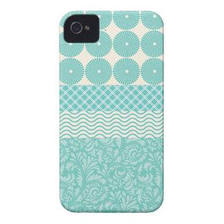 Crazy Teal Blue Patterns Circles Floral Plaid Wave iPhone 4 Case-Mate Case