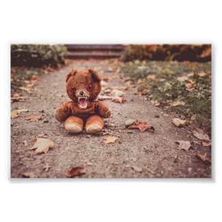Crazy teddy bear poster