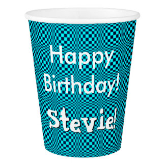 Crazy Turquoise Checker Board Tile Happy Birthday Paper Cup