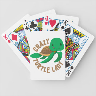 crazy turtle lady circle bicycle playing cards