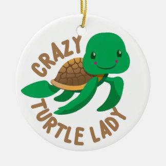 crazy turtle lady circle ceramic ornament