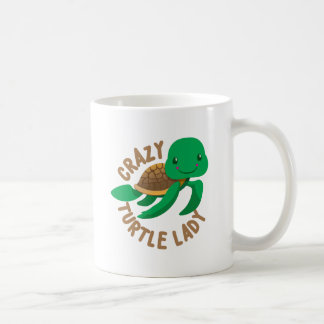 crazy turtle lady circle coffee mug