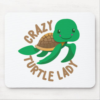 crazy turtle lady circle mouse pad