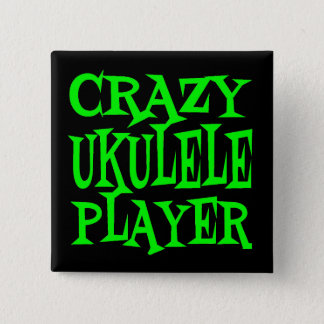 Crazy Ukulele Player in Green 2 Inch Square Button
