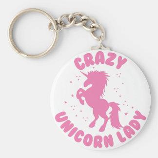 crazy unicorn lady circle in pink basic round button keychain