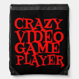 Crazy Video Game Player Drawstring Bag