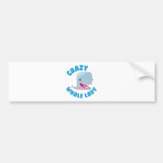 crazy whale lady bumper sticker