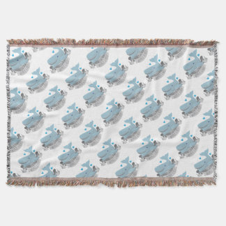 crazy whale lady throw blanket